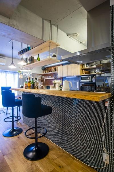 一枚板のキッチンカウンター