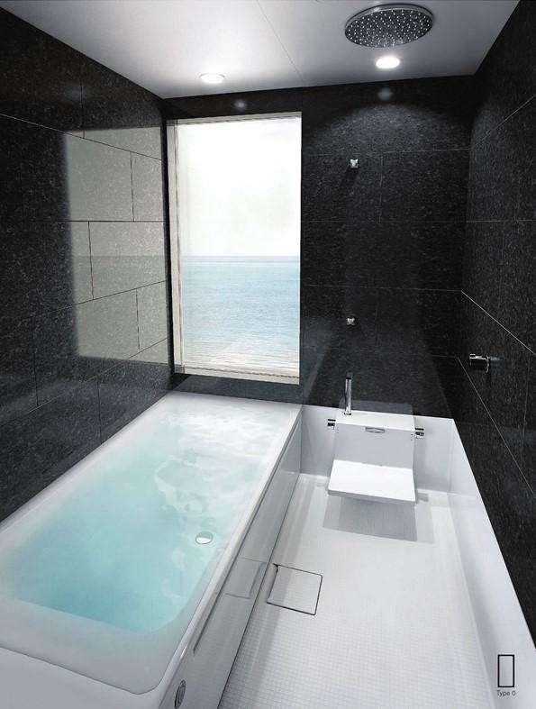 重厚な御影石の浴室