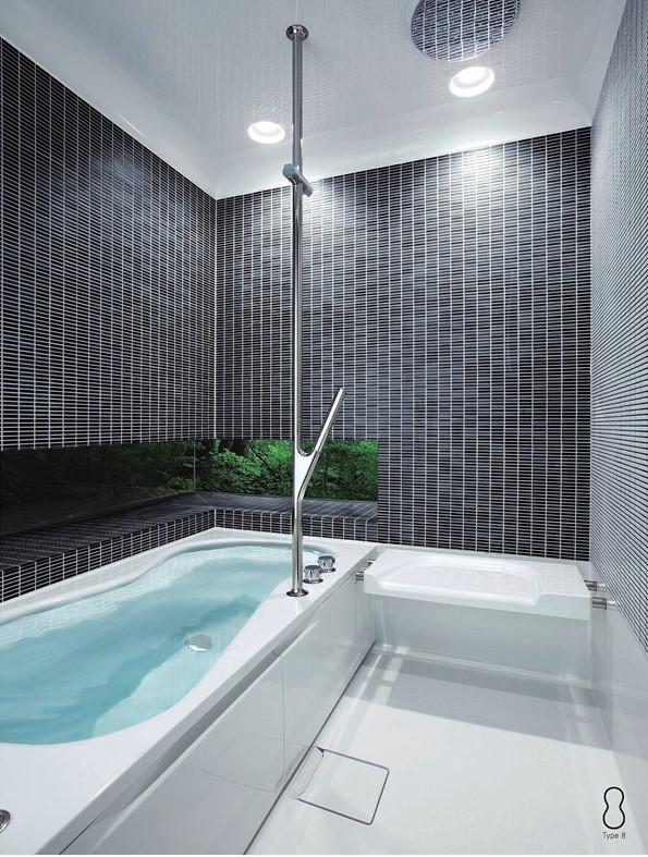 タイルのモダンな浴室