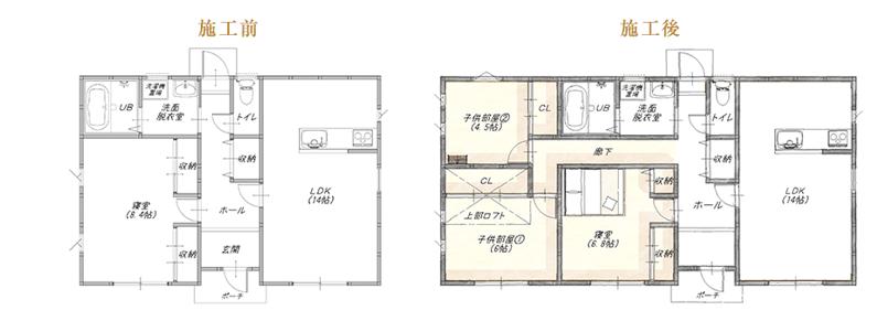 1LDKの平屋に子供部屋を2つ増築事例