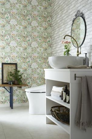 クラシカルなトイレのレンガ風壁紙