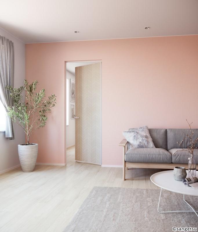 白をベースにピンクの壁紙、グレーのソファやカーテンを選ぶといったコーディネート